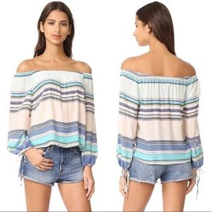 Wildfox | Marietta Striped Print Off Shoulder top